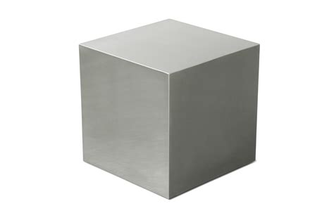 Image Cube Stainless Steel Cube End Table Viesso