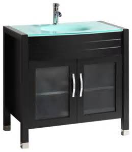 Vanity With Glass Top by 36 Quot Belvedere Modern Bathroom Vanity W Tempered Glass Top