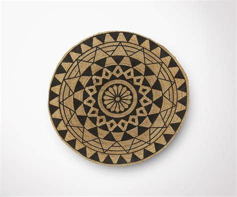 tapis rond en jute cm diametre design ethnique