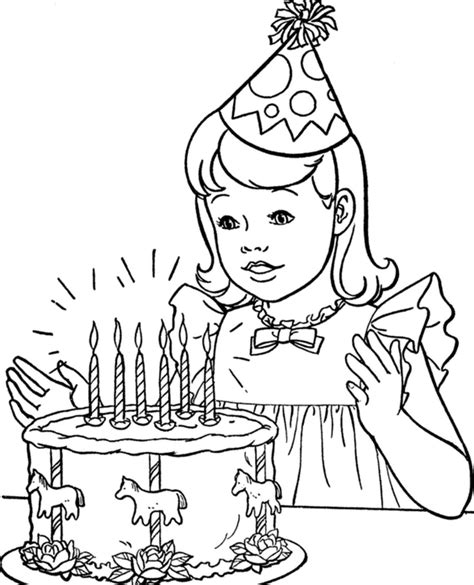 happy birthday cake coloring pages  girls