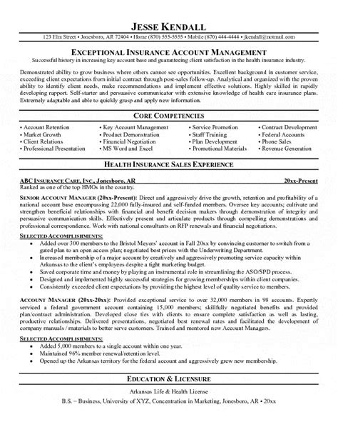 insurance account manager resume