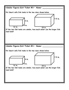 similar figures volume word problem exit ticket by jessica