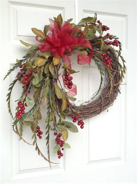 red berry christmas wreath for door holiday wreath winter wreath fro