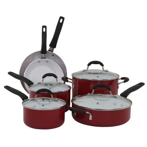 oneida red aluminum  piece cookware set  images ceramic skillet ceramic cookware