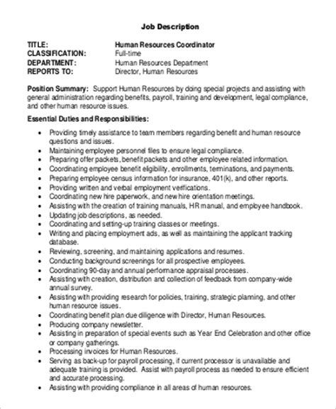 sle hr coordinator description 9 exles in