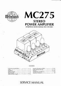 Mcintosh Mc275 Mk4 Tube Power Amplifier Sm Service Manual