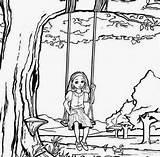 Swing Drawing Tree Coloring Getdrawings Kid sketch template