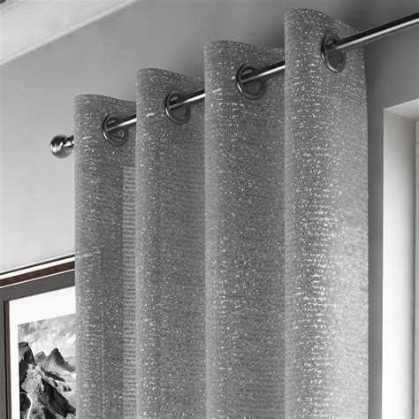 glitter grommet top drape voile window curtain panel net