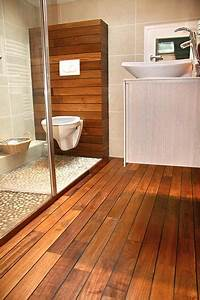 charmant carrelage imitation teck atouts pose prix ooreka With sol en teck salle de bain