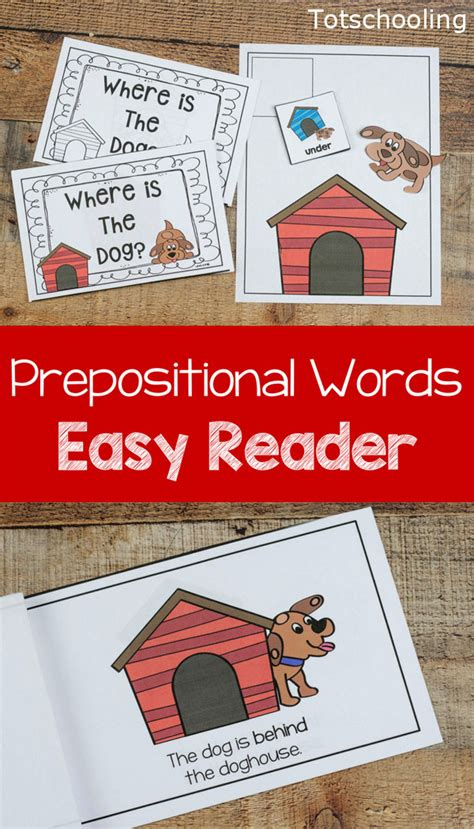 prepositions activity and easy reader book totschooling 671 | Dog Prepositional Words Easy Reader