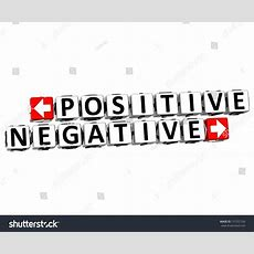 3d Positive Negative Button Click Here Block Text Over White Background Stock Photo 137257160