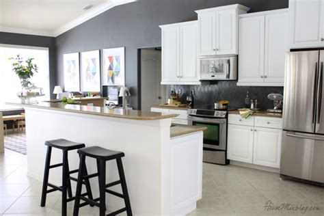 grey kitchen walls with white cabinets how i transformed my kitchen with paint house mix 8364