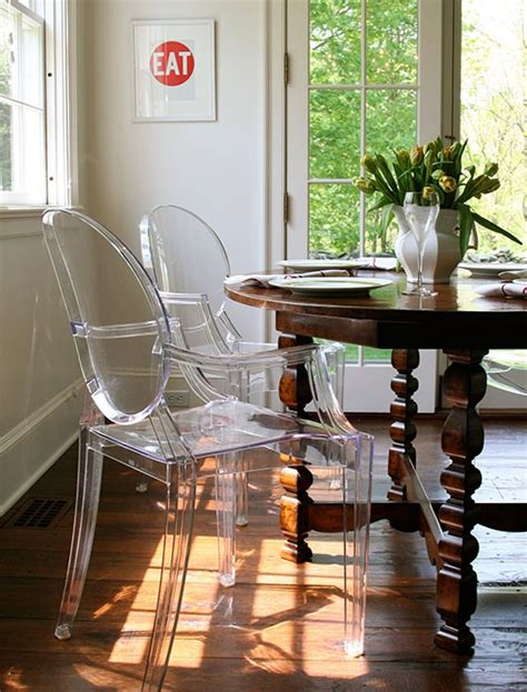 ghost chairs with wood table horton design associates lucite philippe starck louis