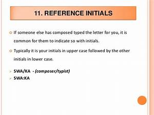 business letter With letter initials