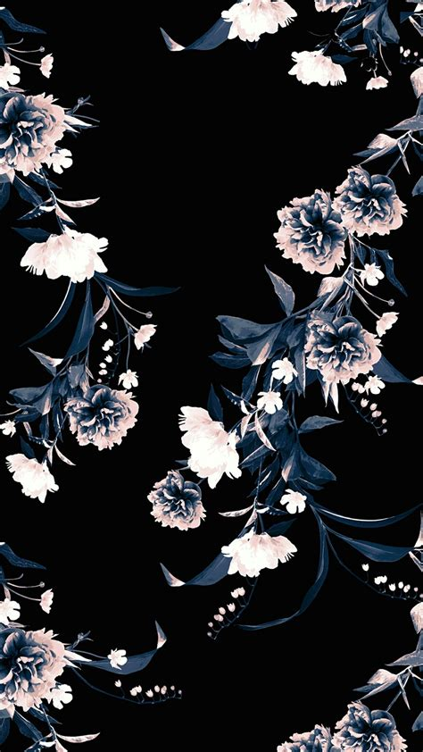 Flower Iphone Black Background Wallpaper by Black Floral Phone Backgrounds Phone Backgrounds