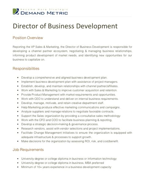 director  business development job description