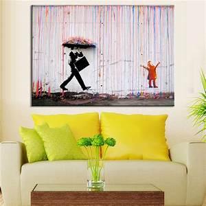 banksy art colorful rain wall canvas wall art living room With wonderful living room wall art decoration