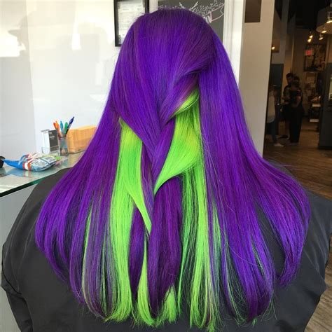 Violet And Neon Green Hair Hair Color Love Neon Green