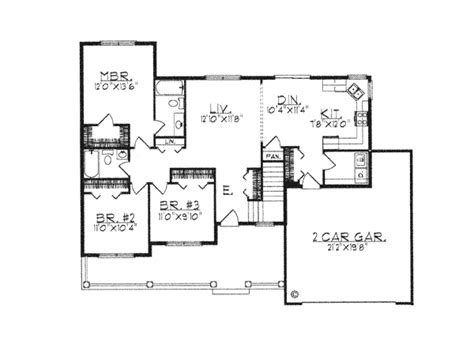 House Plan 97331 Ranch Style with 1342 Sq Ft 3 Bed 2