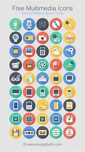 Free Flat Long Shadow Multimedia Icons