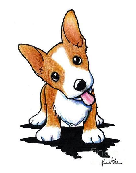 curious corgi puppy fine art print  kiniart artist kim