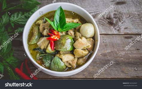 cuisine concept chicken green curry stock photo 592332047