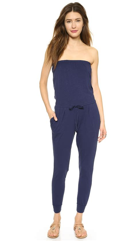 strapless jumpsuit sundry strapless jumpsuit black in blue lyst