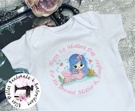 mermaid personalised baby vestembroidered mothers day