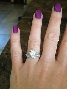 show me your oval halo e rings with your wedding band With oval engagement ring and wedding band