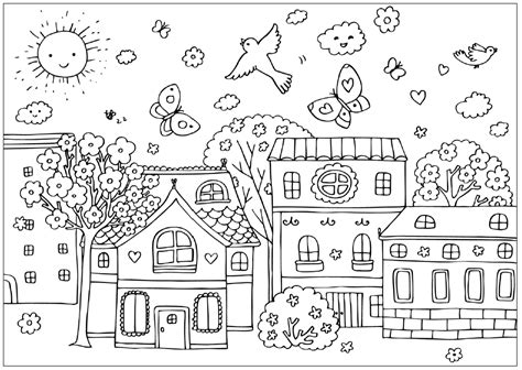 Village Scene Free Colouring Pages