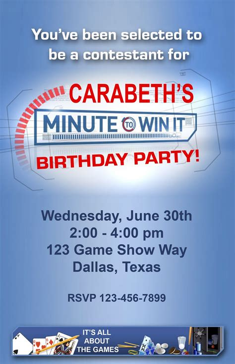 """Score sheet, list of required supplies, birthday party checklist and even invitations. Paper Perfection: Free """"Minute to Win It"""" Birthday Party ..."""