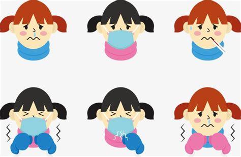 Vector Cartoon Child Flu Sick Children Vector Child