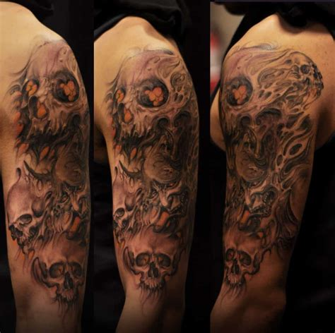 Half Sleeve Black Grey Colour Hannya Mask Skulls