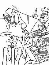 Coloring Restaurant Duck Daffy Netart Working Cartoon March Painting sketch template