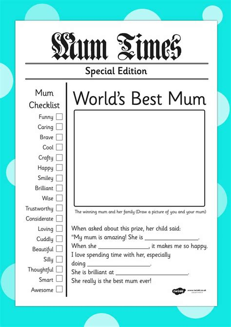 twinkl resources mothers day newspaper card template