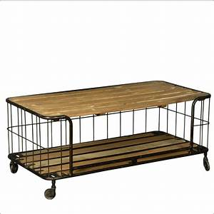 wire basket reclaimed wood iron rolling coffee table With metal basket coffee table
