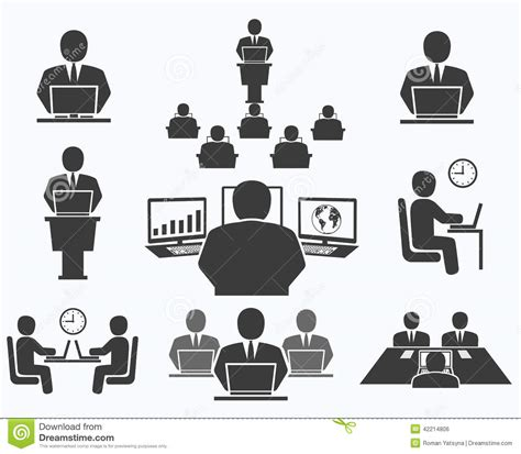 icones de bureau gens d 39 affaires icônes de bureau conférence travail d