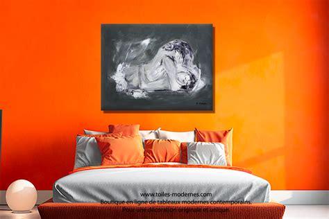 tableau deco chambre adulte tableau nu grand format panoramique gris anthracite désir