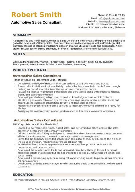 Telecom Sales Resume by Automotive Sales Consultant Resume Sles Qwikresume