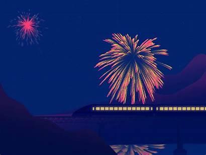 Animated Fireworks Postcard Dribbble Shizuoka Hi Friends