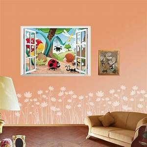 2016 3D Cute Cartoon Flower zoo wall Stickers DIY Decal ...