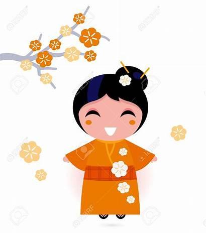Geisha Japanese Kimono Woman Cartoon Clipart Drawing