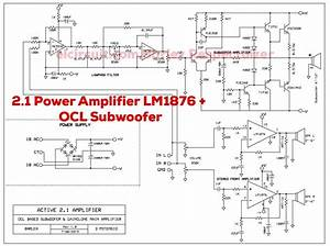 2 1 Audio Amplifier Using Lm1876   2sc2922 2sa1216 Ocl