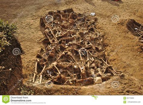 mass grave   spanish civil war  stock