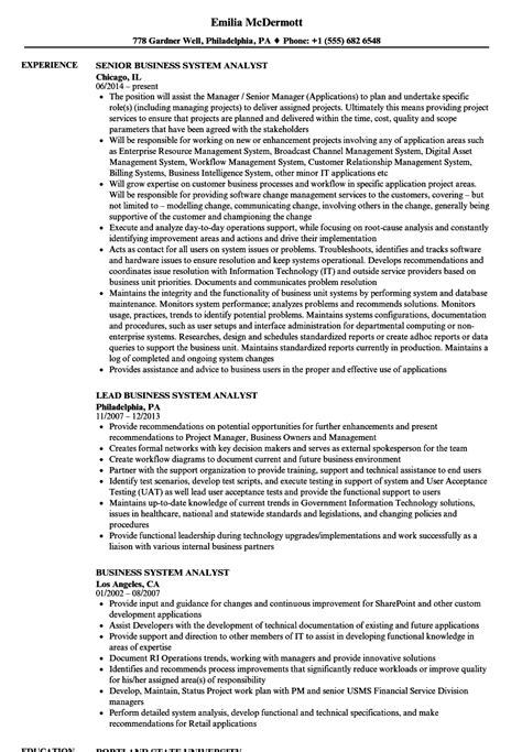 Business Systems Analyst Resume by Resume Sles For Business Systems Analyst Business