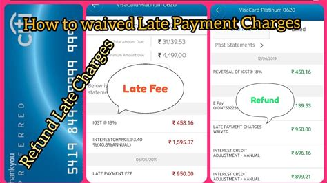 Your credit card issuer may waive the fee for an accidental late payment if you ask, and as long as the late payment was isolated. How to Waived Credit Card Late Payment    Late Payment charge kaise return kare - YouTube
