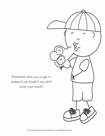 Coloring Sick Germs Spreading Germ Colouring Worksheets