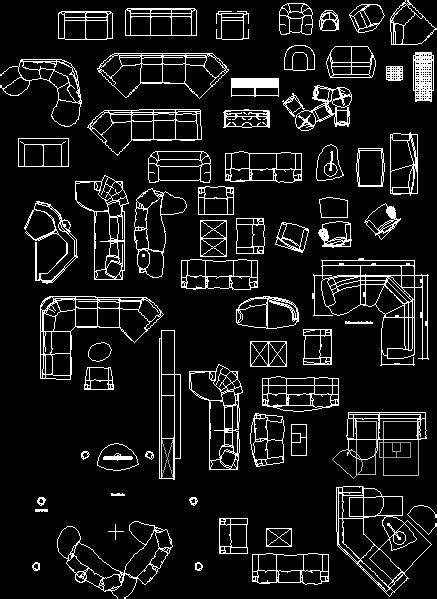 living room furniture  autocad  cad