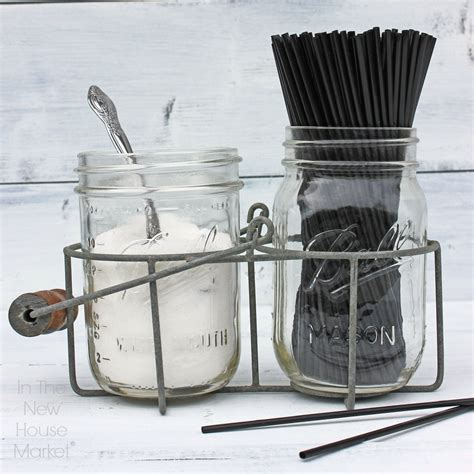 A stylish and repurposed diy coffee table is definitely the trend at the moment, with more and more people wanting individuality within a budget. Double Jar Caddy With Handle (With images)   Coffee bars in kitchen, Office coffee bar