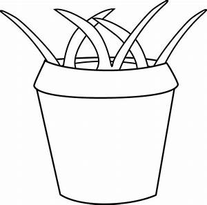 Black and White Flower Pot with Weeds Clip Art - Black and ...